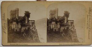 Chateau-da-Rheinstein-Rhine-Germania-Foto-Stereo-P48p-Vintage-Albumina