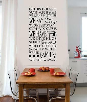 In This House Family Rules Vinyl Decal Wall Decor Sticker Words Letters Quote