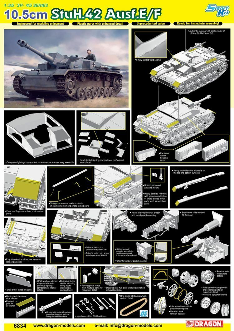 1Dragon 1 35 6834 10.5cm StuH.42 Ausf.E F Model kit