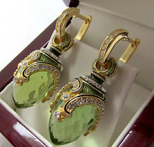 SALE !  SUPERB RUSSIAN PERIDOT STERLING SILVER 925  EARRINGS w/ ENAMEL