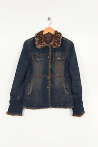 Blue Quilted Brown Faux l Denim Women's Vintage Jacket Foret Fur 81PqX