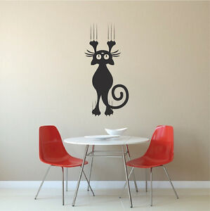 Image Is Loading Cat Scratching Wall Decal Cat Falling Wall Vinyl