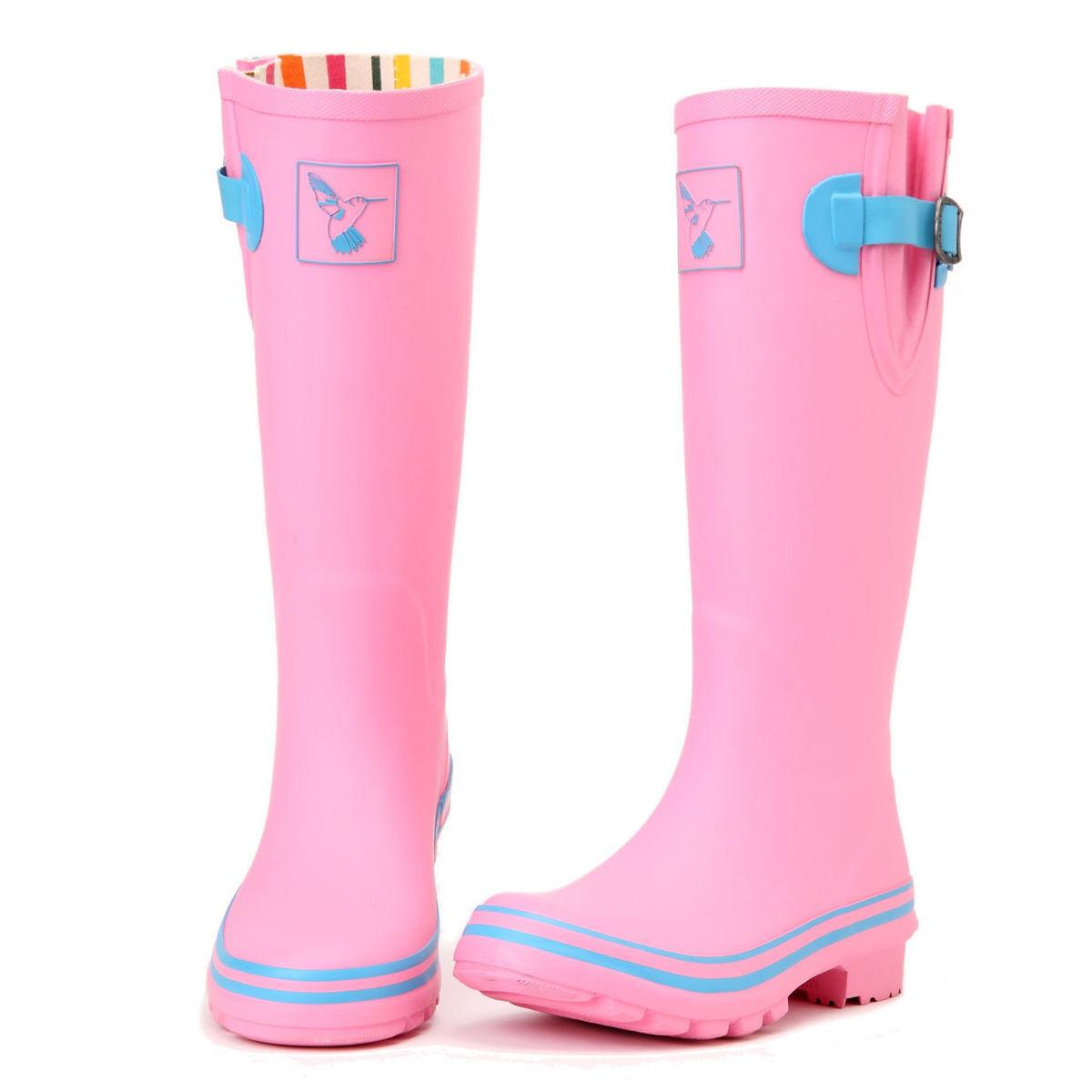 Evercreatures UK Brand Fashion Pink Rubber Rain Boots Women's Wellies
