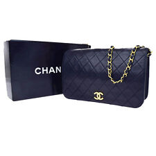 Authentic CHANEL CC Quilted Chain Shoulder Bag Leather Navy Blue Vintage 91Q231