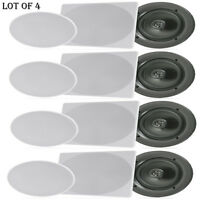 Lot Of (4) Pyle Pdic1666 6.5 In-wall/in-ceiling Home Speaker, 2way Flush Mount