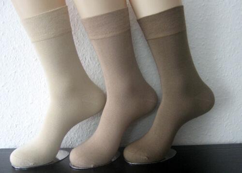 3 Paar Damen Bambus Socken extra weicher Softrand ohne Gummi Natur 35 bis 42