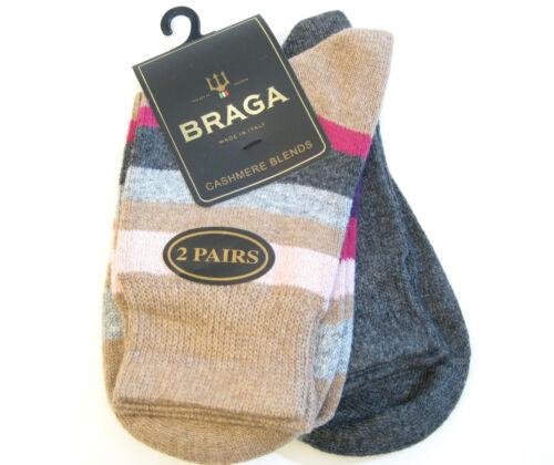 2 PR Braga Italy Ladies Boot Socks Cashmere Silk Blend Stripe Solid Charcoal