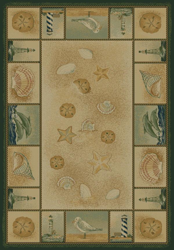 COASTAL ivory 4x6 ocean ocean ocean SHELLS area rug DOLPHIN carpet   Actual 3' 11  x 5' 3  45244e