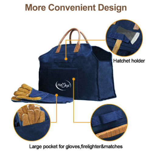 Large Waxed Canvas Log Carrier Firewood Holder Tote Bag for Fireplace Fire Pit