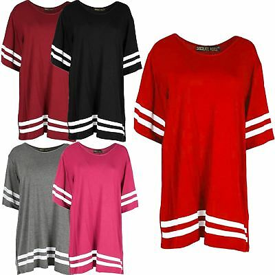 New Womens Plain Stripy Baseball Baggy T Shirts 8-22