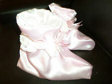 ADULT BABY SISSY  BABY  PINK  SATIN  BOOTIES  WHITE LACE TRIM SATIN BOWS M/L