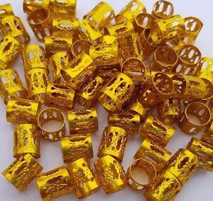 5-50-6-100-Braid-039-s-Dreadlock-Beard-Hair-Cuffs-Beads-Silver-Gold-Mixed