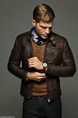Men Leather Jacket Genuine Lambskin Leather Motorcycle Slim fit Biker Jacket M16