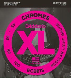D-039-ADDARIO-ECB81S-CHROMES-FLAT-WOUND-BASS-STRINGS-SHORT-SCALE-LIGHT-4-039-s-45-10