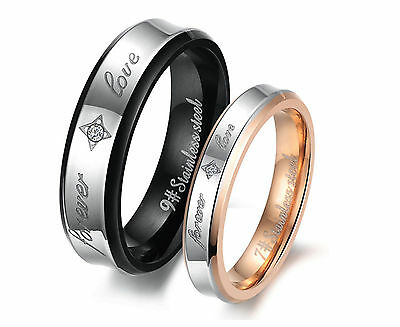 316L Steel Forever Love Promise Wedding Bands Titanium Couple Ring Set Valentine