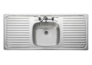 Leisure Linear Single Bowl Double Drainer Kitchen Sink 18/10 S ...