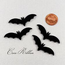 20pcs 45mm Halloween Glitter Black Laser Cut Bat Acrylic Resin Cameo Cabochon