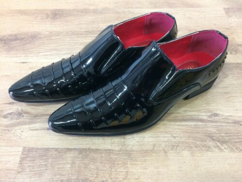 Mens Italian style Patent Leather Look Spats Brogues Slip On Shoes Black 7-12