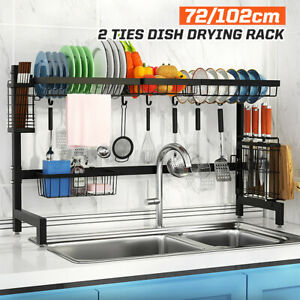 2-Tier Stainless Steel Kitchen Shelf  Drying Storage Holders Plate Dish Rack US