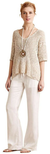 Knit Blend Linen Nwt Wables Kent unica Poncho Taglia Cable Slubby Anthropologie 6wt0q8v6R