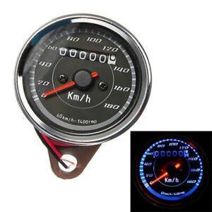 Motorrad-Kilometerzaehler-Tachometer-Messgeraet-Universal-Edelstahl-Neu-12V-LED