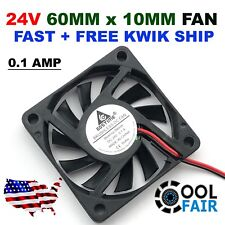 QTY2  24Volt 6010 PC Computer CPU 6cm 60x60x10mm 2-Pin DOUBLE BALL BEARING FAN