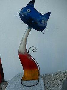 Grosse-Katze-aus-Metall-fuer-Haus-Garten-Metallkatze-Vintage-Kaetzchen-Blechfigur