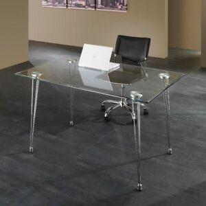 Scrivania Moderna Vetro.Dettagli Su Scrivania Per Ufficio Kaleva Design Moderno In Metallo E Vetro 130 X 80 Cm