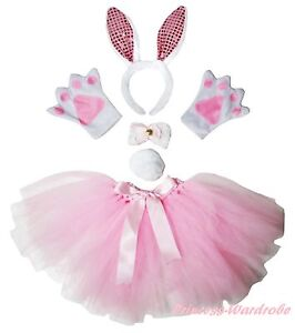 Easter-Adult-Light-Pink-Bling-Bunny-Rabbit-Headband-Paw-Tail-Bow-Skirt-Costume