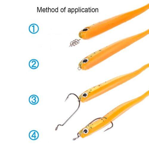 Hook Pin Spring Fixed Lock Fishing Screw Needle Soft Lure Bait Worm LD