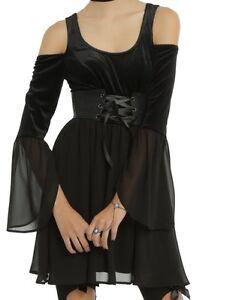gothic velvet cold shoulder bell sleeve corset dress