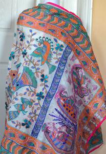 Phulkari-Flower-Embroidered-Village-Scene-Print-Design-Wrap-Dupatta-from-India