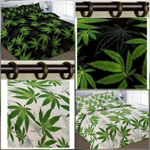 ✅ Moderne Cannabis Weed Leaf Pattern Parure de couette /& Assorti Rideau 66 X 72 Pouces