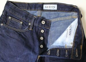 shop for luxury huge range of select for original Details about Mens Gustin Jeans Slim Fit Raw Selvedge Button Fly Denim  Jeans 116699 Size 29