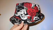 skull rock red rose fedora hat boys girls toddler child infant-6 yrs