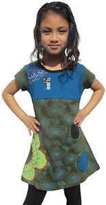 clair-coton-manches-courtes-enfants-decollete-ete-filles-FLORAL-HIPPIE-BOHO-robe