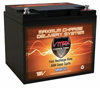 Vmax Mr86-50 12v 50ah Agm Deep Cycle Battery For Minn Kota Endura Max 45 Motor