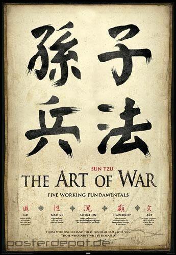Poster Sun Tzu die Kunst des Krieges Schriftzeichen Chinesisch 61 x 91,5 cm