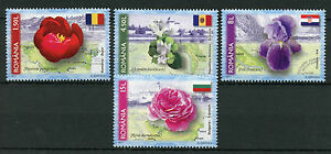 Romania 2017 MNH Flowers National Symbols 4v Set Flags Roses Iris Peony Stamps