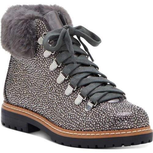BHFO 9898 INC Womens Pravale 3 Gray Metallic Lace-Up Boot Shoes 5 Medium B,M