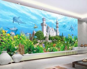 3D Castle Dolphins 74 Wall Paper Murals Wall Print Wall Wallpaper Mural AU Lemon