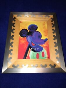 Disney-Mickey-Mouse-Silver-EARs-Wood-Frame-Fits-5x7-Photo-Retired-RARE