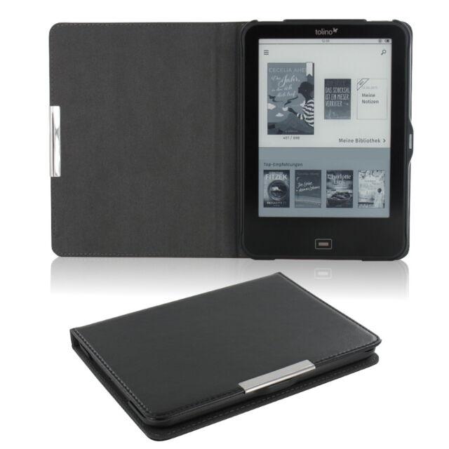 Flip Tasche für Tolino Vision 1 2 3 4 HD Leder-Imitat Schwarz Schutzhülle Etui