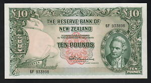 NEW-ZEALAND-P-161cF-1956-67-10-Pounds-Fleming-1st-Prefix-6F-aUNC
