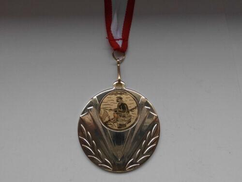 Angeln Pokal Kids 20 x Medaillen Emblem m. Medaillen-Band Rot/Weiß Turnier (e247