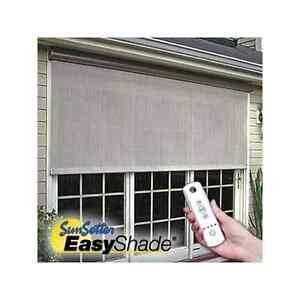 8 39 sunsetter motorized easyshade solar screen outdoor for Motorized exterior solar shades
