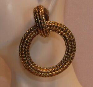 Vintage Large Textured Gold Tone Dangling Hoop Clip On Back Earrings P184