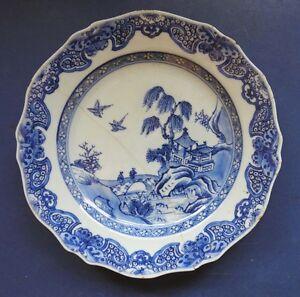 CHINESE PORCELAIN BLUE & WHITE PLATE - LANDSCAPE - 18TH CENTURY - QIANLONG