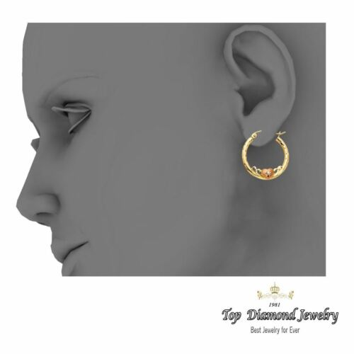 14K or Jaune Round Boucles D/'oreilles Créoles Diamond Cut 21 x 2 Mm Deux Tons Finition Hoops
