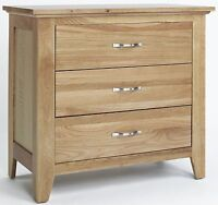 Mayfair Solid Oak Furniture Three Drawer Bedroom Chest Of Drawers